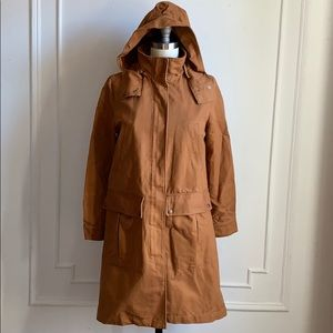 Zara Tobacco Brown Hooded Trench Coat Jacket